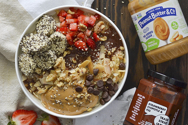 Peanut Butter & Co. and Trade Street Jam Co. Oatmeal Bowl