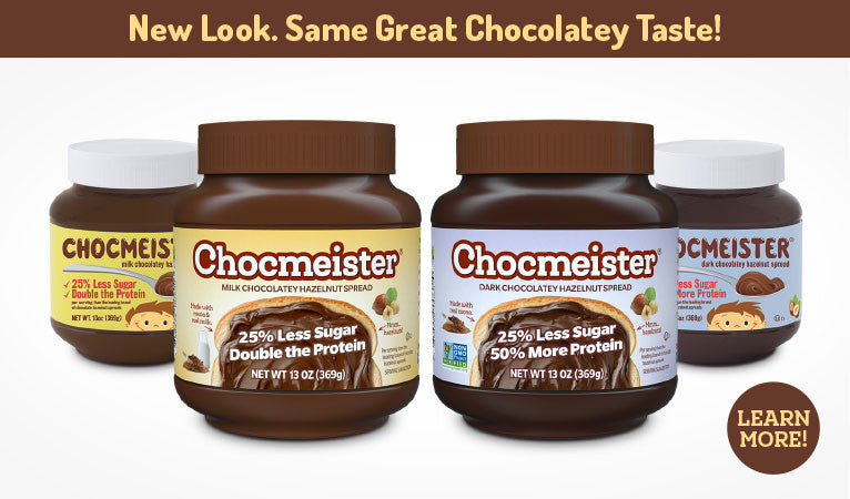 Chocmeister Chocolatey Hazelnut Spreads 25% more protein and less sugar - learn more