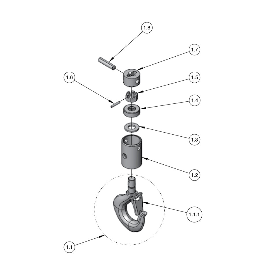 Next-Gen Lodestar Hoist Parts: Lower Hook Block (RRS Model)