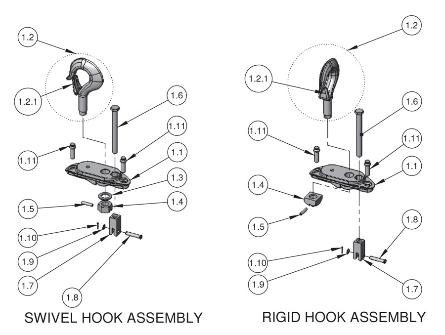 CM Next-Gen Lodestar Hoist Parts - Large Frame Upper Suspension(R,RR)