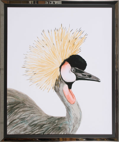 WATERCOLOR CRESTED CRANE