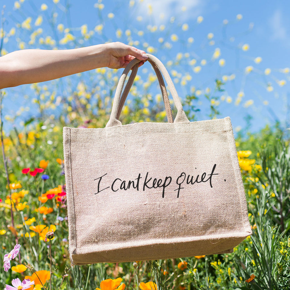 I Can't Keep Quiet Burlap Tote Bag By Musician and Activist MILCK