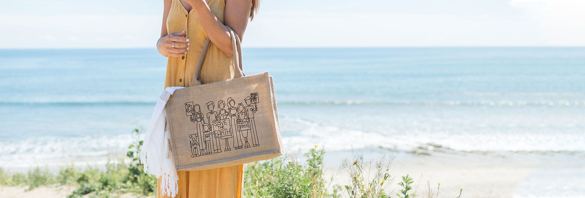 Save the Earth Burlap Tote Bag Save the Earth Illustrated Burlap Tote Bag by Katie Grossbard