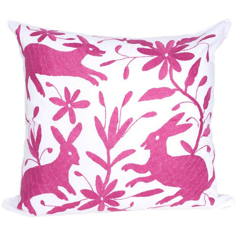 Fair Trade Magenta Embroidered Pillow
