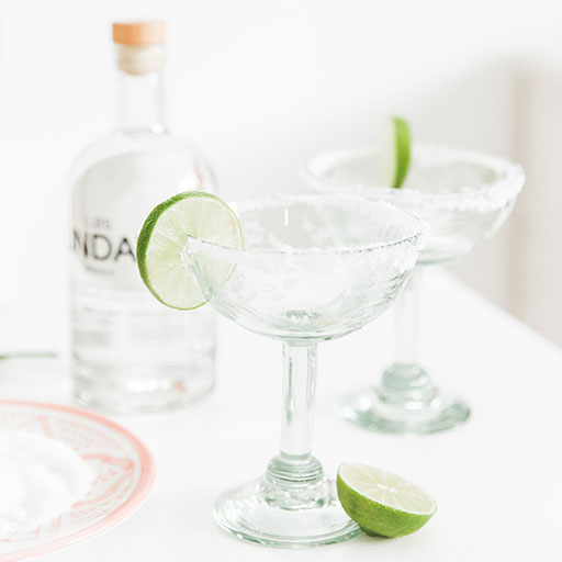 Handmade glassware made with recycled glass, clear margarita glass