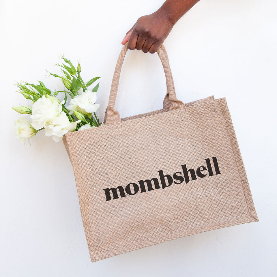 Mombshell Burlap Tote bag supporting Alliance of Mom's empowering young mothers in foster care