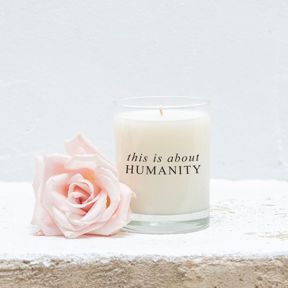 This is about humanity candle, This is about humanity tote, burlap tote, burlap bag, candles with purpose, hand-poured candles, candles
