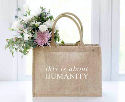 This is About Humanity Burlap Tote Bag