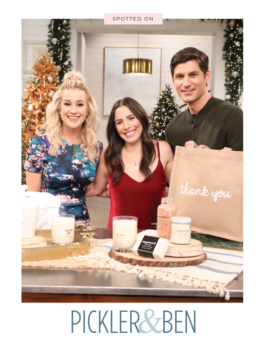 Large Thank You Reusable Gift Tote In Black Font Featured On Pickler And Ben | The Little Market