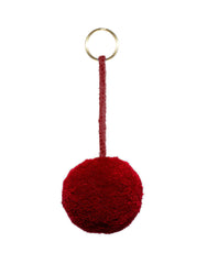Fair Trade Maroon Red Pom Pom Keychain