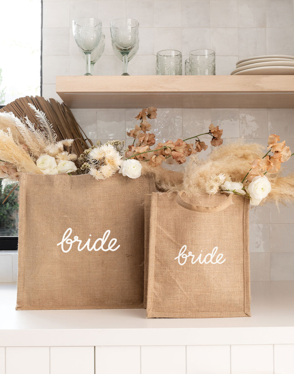 Medium Bride Reusable Gift Tote In White Font | The Little Market