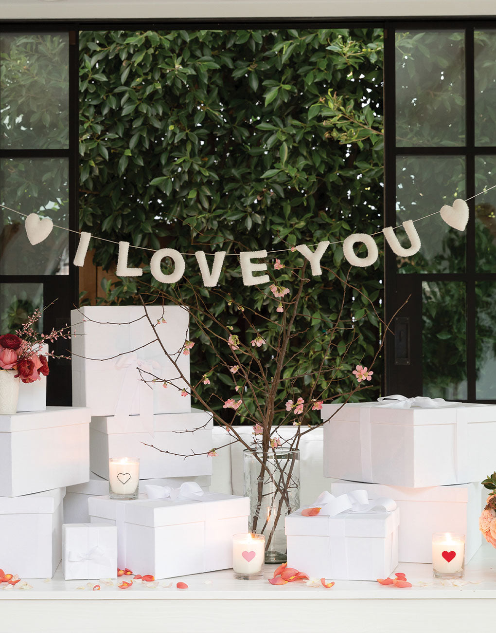 I Love You Felt Garland - White | The Little Market