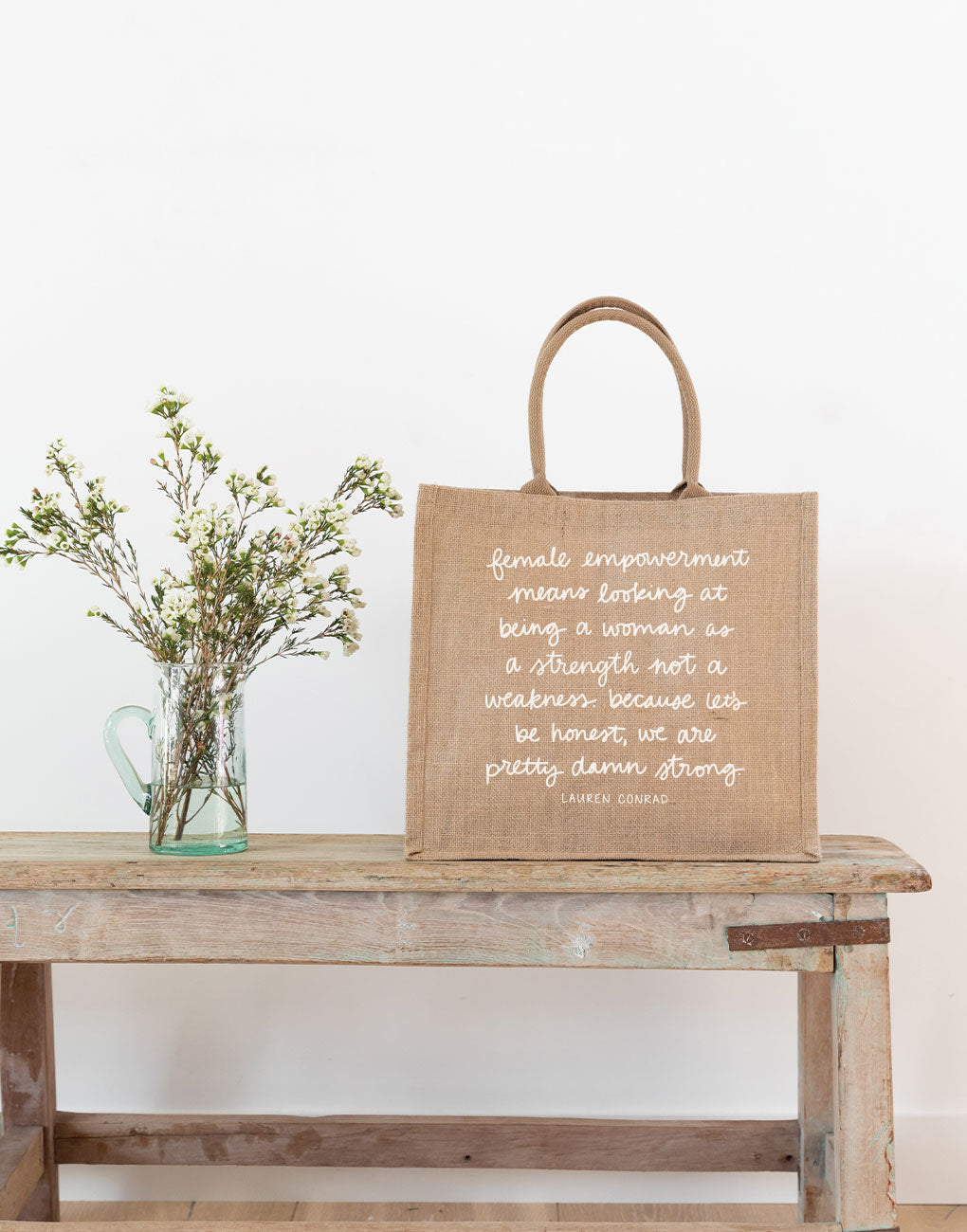 Large Female Empowerment Quote By Lauren Conrad Reusable Shopping Tote In White Font | The Little Market
