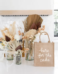 Medium Here For The Cake Reusable Gift Tote In White Font | The Little Market