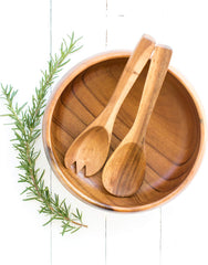 Fair Trade Hand-carved Acacia Wood Salad Servers