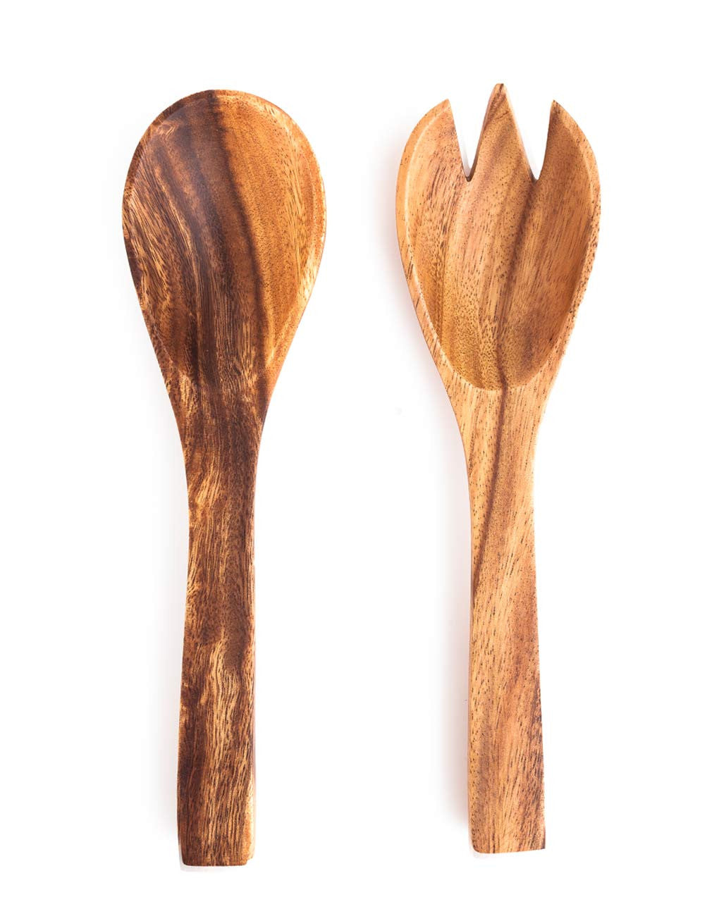 Fair trade acacia wood hand carved salad servers the