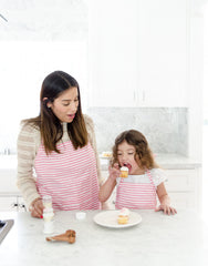 Fair trade, hand-woven pink & white striped apron
