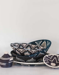 Fair Trade, Hand-woven, Large Black & Gray Basket