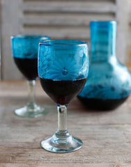 Fair Trade Hand-Etched Recycled Aqua Wine Glass