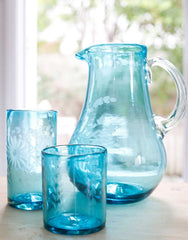Fair Trade Aqua Hand-Etched Recycled Glass Pitcher