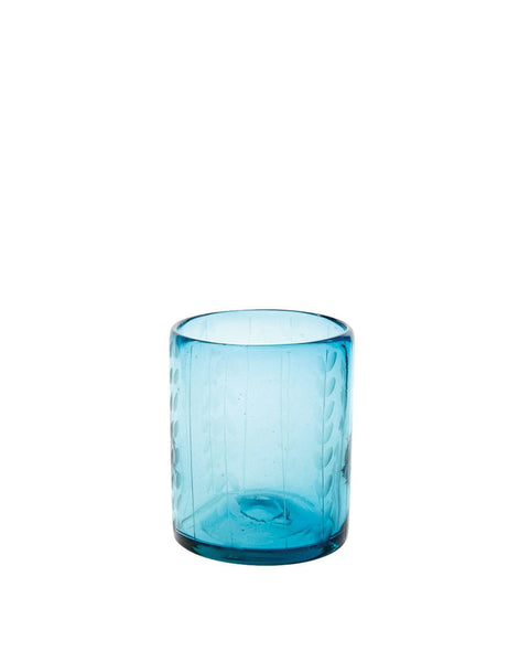 Aqua Short Leaves Glass