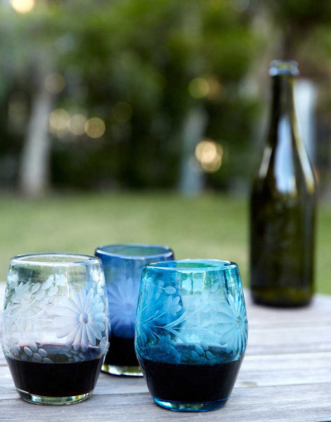 Fair Trade Hand-Etched Recycled Aqua Wineglass