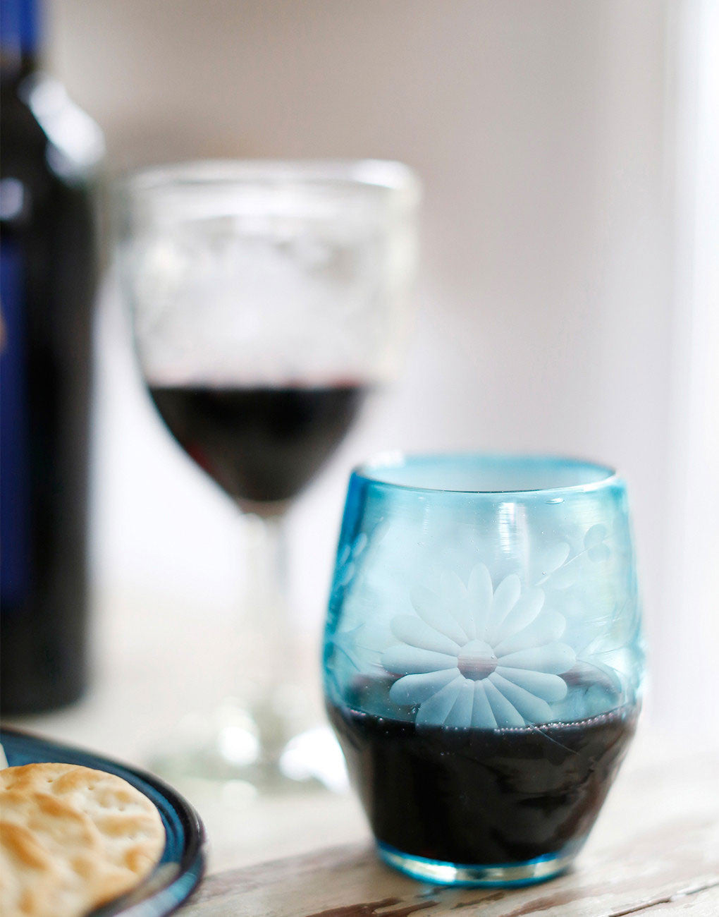 Hand-etched Recycled Stemless Wine Glass, Fair Trade | Blue – The ...