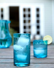 Fair Trade Aqua Hand-Etched Flowers Recycled Glass Drinking Glassware