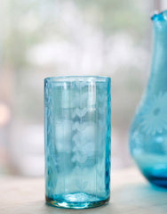 Fair Trade Aqua Hand-Etched Leaves Recycled Glass Drinking Glassware