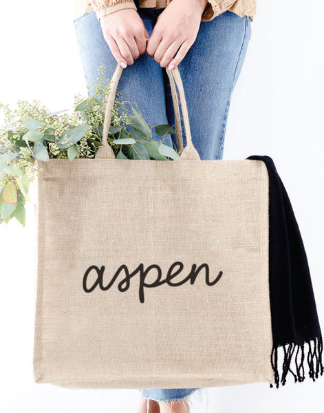 Large Aspen Reusable Shopping Tote In Black Font | The Little Market