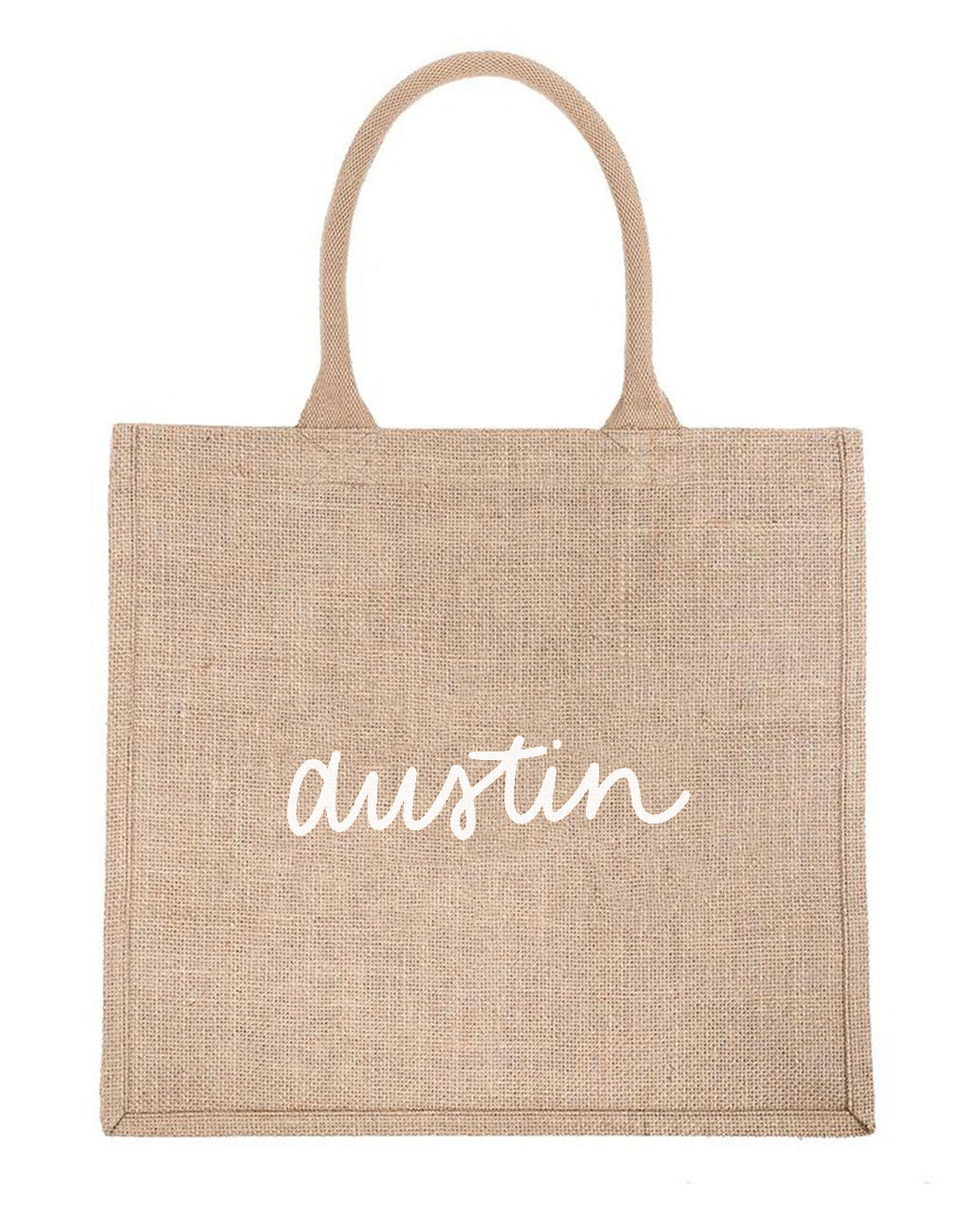 Large Austin Reusable Shopping Tote In White Font | The Little Market