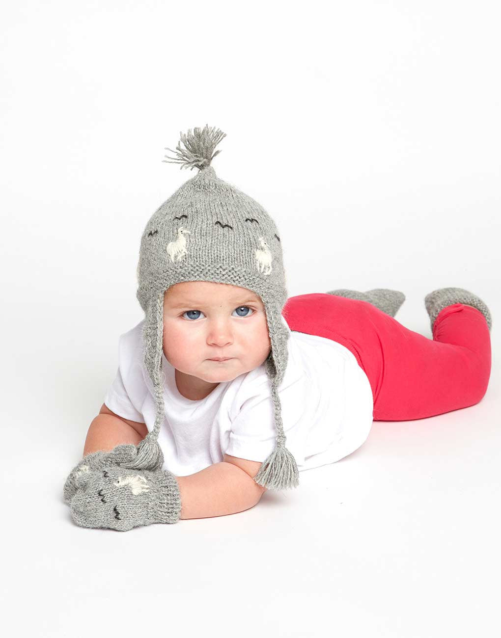 Fair Trade Natural Peruvian Alpaca Wool Hand-Knit Baby Beanie - Gray Alpaca