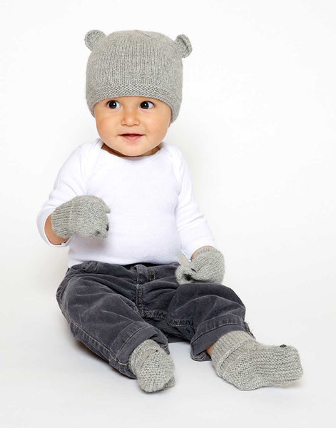Fair Trade Natural Peruvian Alpaca Wool Hand-Knit Baby Beanie - Little Bear - Gray