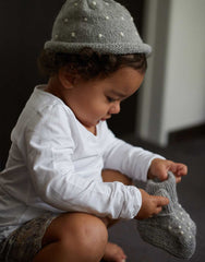 Fair Trade Natural Peruvian Alpaca Fair Trade Wool Hand-Knit Baby Beanie- Gray Polka Dot