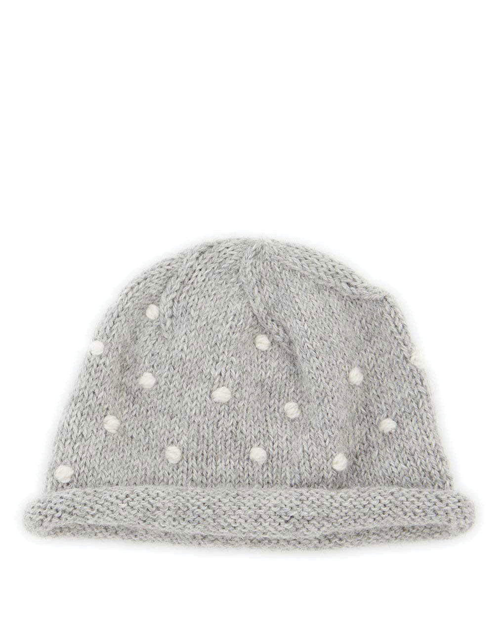 Fair Trade Natural Peruvian Alpaca Wool Hand-Knit Baby Beanie- Gray Polka Dot