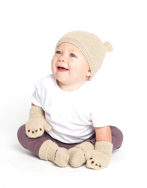 Fair Trade Natural Peruvian Alpaca Wool Hand-Knit Baby Beanie - Little Bear - Tan