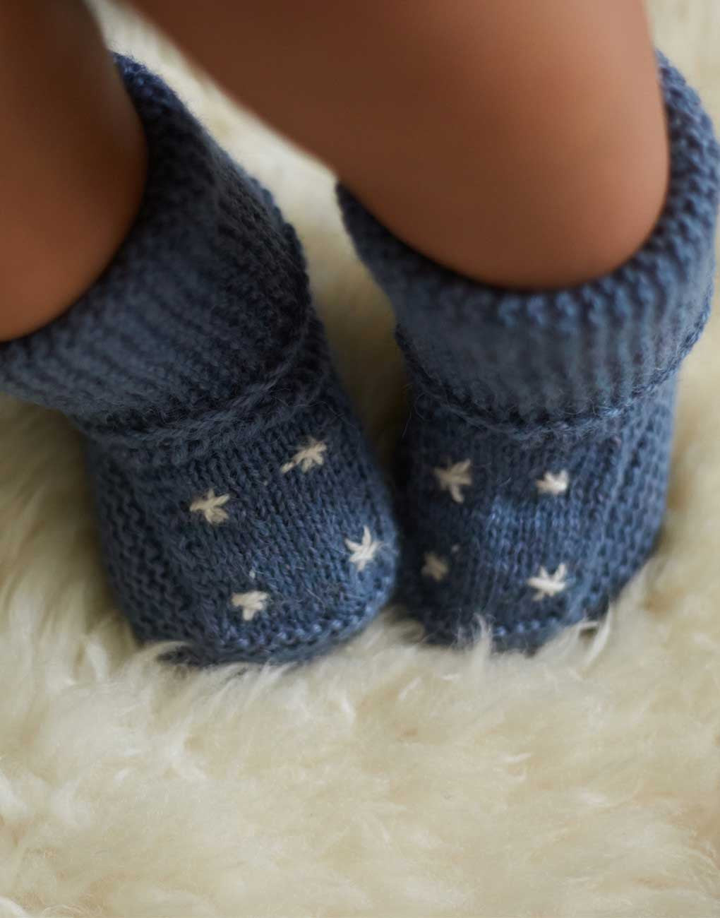 Fair Trade Knit Baby Booties - Blue Star