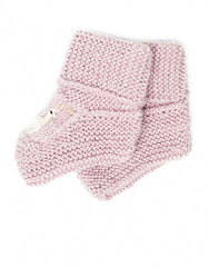 Fair Trade Knit Baby Booties - Alpaca - Lavender
