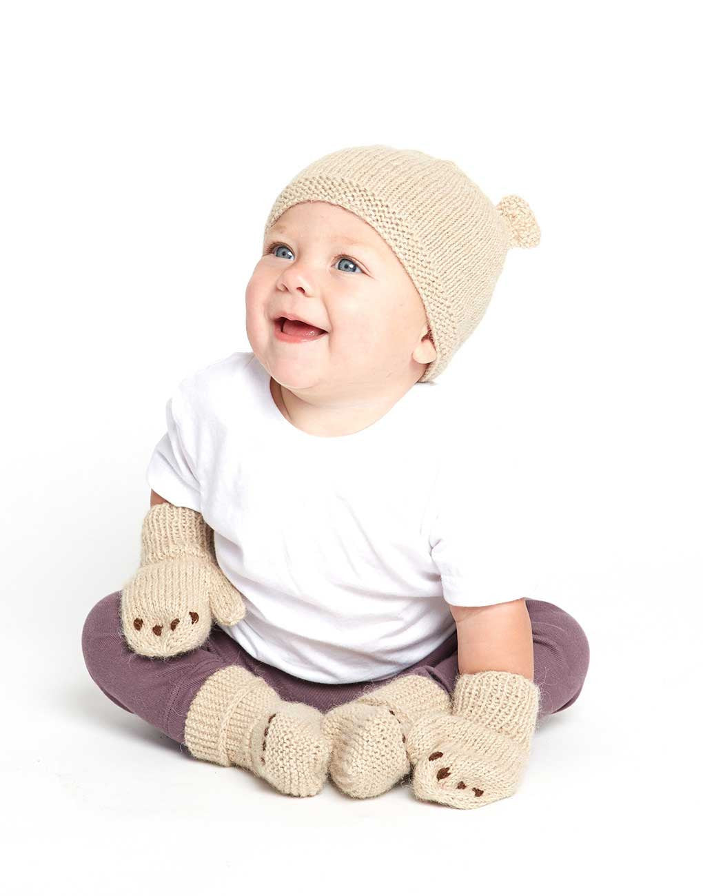 Fair Trade Knit Baby Booties - Little Bear - Tan