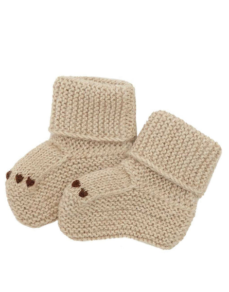Little Bear Baby Booties - Tan