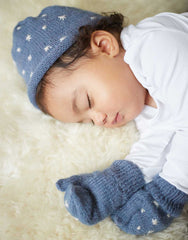 Fair Trade Baby Knit Mittens - Blue Star