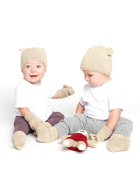 Fair Trade Baby Knit Mittens - Tan Little Bear