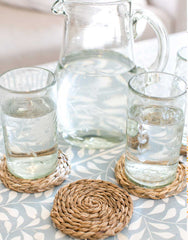 Fair Trade Banana Bark Coaster and Clear Glassware