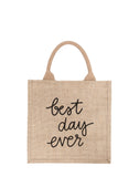 Large Best Day Ever Purposefull Gift Tote In Black Font | The Little Market