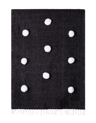Fair Trade, Hand-woven Pom Pom Blanket, Black with White Pom Poms