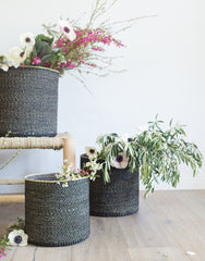 Fair Trade Hand-woven Basket & Planter, Black