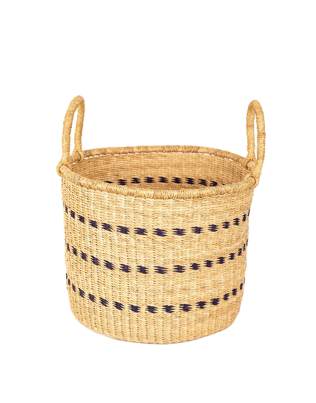 Small Striped Storage Basket - Black | The Little Market