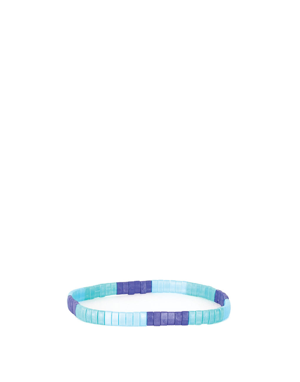 Flat Beaded Bracelet - Blue Colorblock | The Little Market