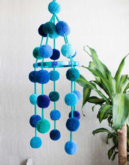Fair Trade Handmade Blue Pom Pom Mobile