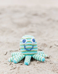 Hand-woven Octopus Shaped Green Baby Rattle